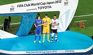 2012 FIFA Club World Cup - David Luiz, Cássio and Paolo Guerrero (from left to right) accepting their individual awards after the 2012 FIFA Club World Cup Final.