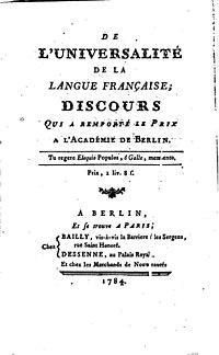 The Universality of the French Language