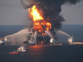 2010 in the United States - April 20: The blazing remnants of the offshore oil rig Deepwater Horizon