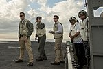 Defense Secretary Ash Carter and India's Minister of Defense Manohar Parrikar observe flight operations as they tour the USS Dwight D. Eisenhower.jpg