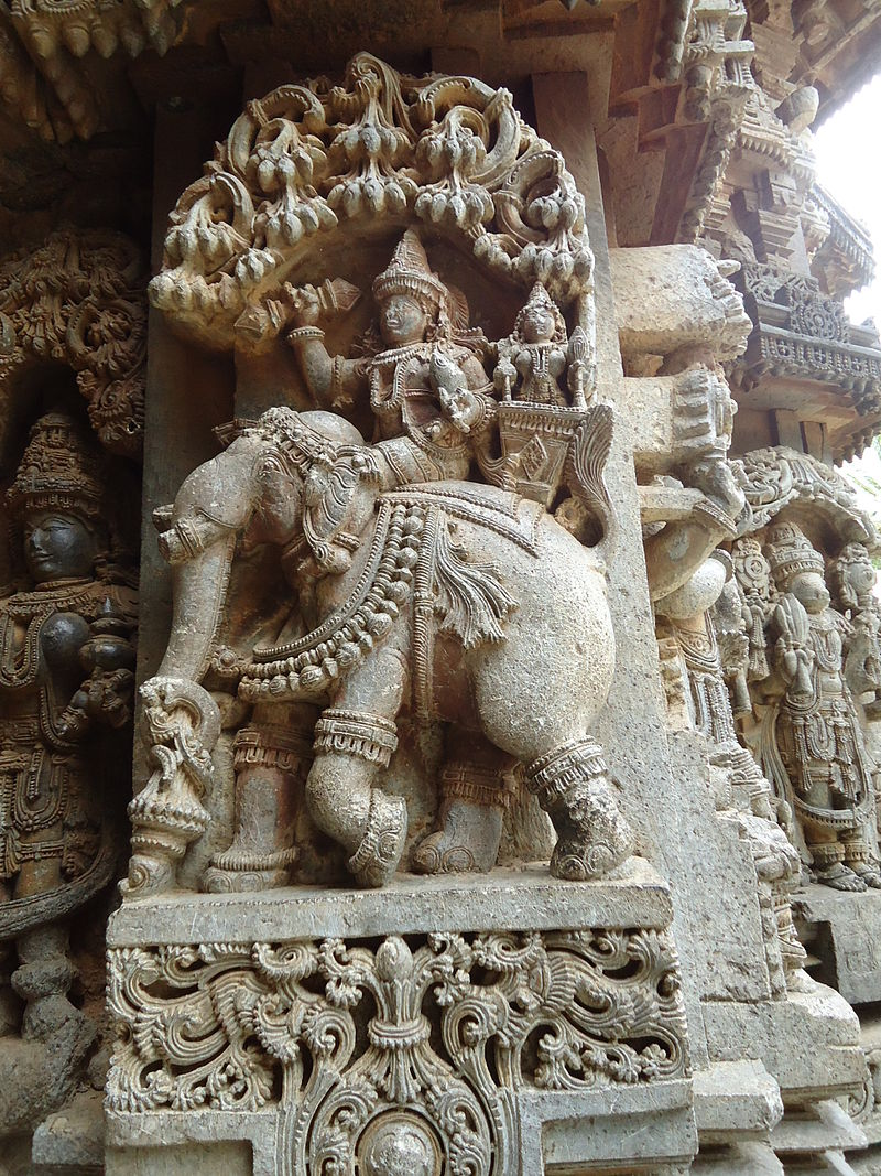 Deity riding elephant in relief at Keshava temple in Somanathapura.jpg