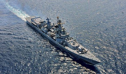 "Guided missile destroyer INS Delhi Delhi class destroyer during ""Defence of Gujarat"" 2013.jpg"