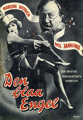 "Josef von Sternberg - A measure of The Blue Angel's European marketing and its ""instant international success"": Danish movie poster."