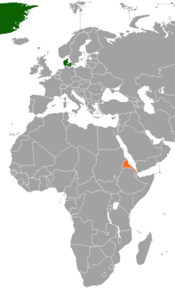 Map indicating locations of Denmark and Eritrea
