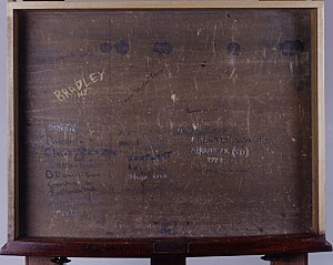 Bill Bradley - Drawer of Bradley's former Senate Chamber desk (Bradley's signature is visible in the upper left corner)