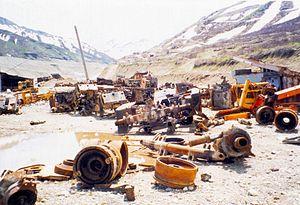 Mining in Tajikistan - Mine equipment destroyed during the civil war in Tajikistan