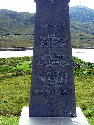 Clan Mackenzie - Commemorative stone to the Mackenzies of Seaforth on the Isle of Lewis. The Mackenzie chief's title of Earl of Seaforth took its name from Loch Seaforth between the Isles of Lewis and Harris