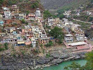 Devprayag town in Uttarakhand, India