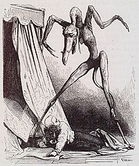 Early drawing of a demon hovering over a person collapsed on the floor.