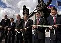 Dignitaries cut the ribbon dedicating the memorial to the Alaska-Siberia Lend Lease Program in Fairbanks.jpg