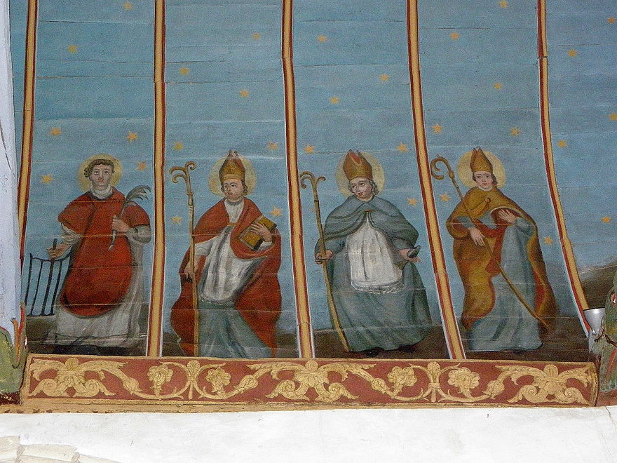 Paintings in the church ceiling (voûte).