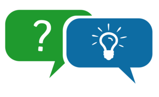 The image shows speech bubbles, one with a question mark icon, the other with a lightbulb icon