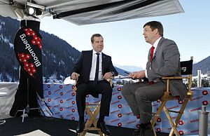 Dmitry Medvedev's interview with Bloomberg at the World Economic Forum 2013 (2013-01-23) 02.jpeg