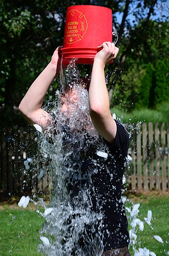 Ice Bucket Challenge - A person performing the ALS Ice Bucket Challenge