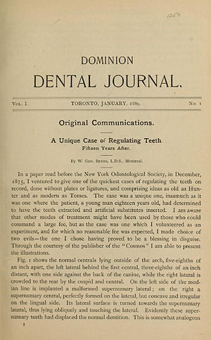 William George Beers - The first issue of the Dominion Dental Journal