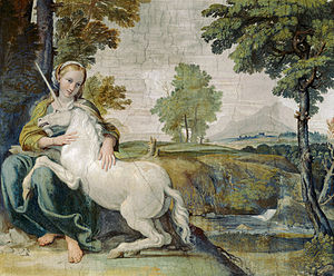 Unicorn - The gentle and pensive maiden has the power to tame the unicorn, fresco, probably by Domenico Zampieri, c. 1602 (Palazzo Farnese, Rome)