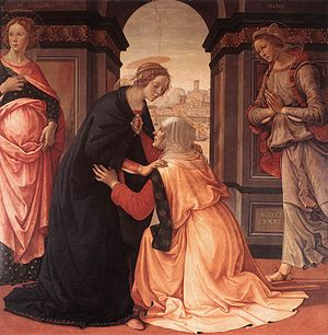 Magnificat - The Visitation (painting) by Domenico Ghirlandaio depicts Mary visiting her elderly cousin Elizabeth