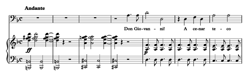 The opening bars of the Commendatore's aria in Mozart's opera Don Giovanni. The orchestra starts with a dissonant diminished seventh chord (G# dim7 with a B in the bass) moving to a dominant seventh chord (A7 with a C# in the bass) before resolving to the tonic chord (D minor) at the singer's entrance. Don Giovanni Commendatore.png