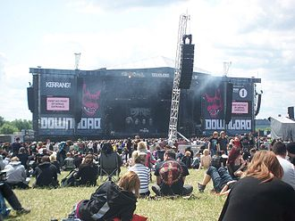 Download Festival - Just before Escape the Fate's set on the main stage at Download Festival 2011