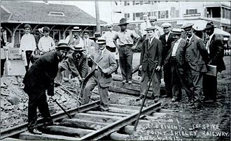 Boston, Revere Beach and Lynn Railroad - Ceremonial driving of the first spike on the line in August 1910