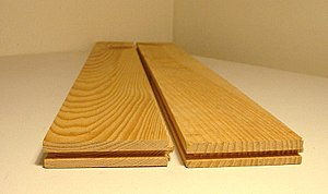 Tongue and groove - Solid parquet boards with grooves on the near ends. Tongues on the right sides of the boards and grooves on the left sides. The far ends are tongued.