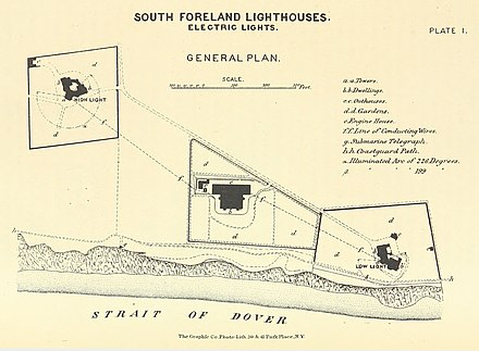 map showing the power station positioned between the two lighthouses