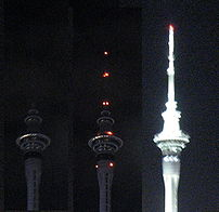 The Sky Tower in Auckland switched off lights ...