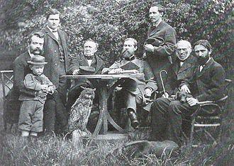 Julius Theodor Christian Ratzeburg - Teachers of the school of forestry in Neustadt-Eberswalde around 1868 (from left): Robert Hartig (embracing Peter Danckelmann), unknown, Julius Theodor Christian Ratzeburg, Bernhard Danckelmann, Adolf Remelé, Wilhelm Schneider and Wilhelm Schütze