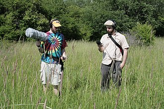 Field recording - Two individuals recording ecoacoustics in the field.