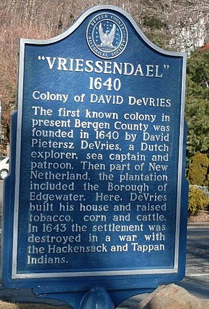 Vriessendael, New Netherland - Historical marker in Edgewater, NJ placed by Bergen County Historical Society