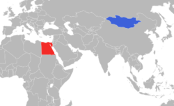 Map indicating locations of Egypt and Mongolia