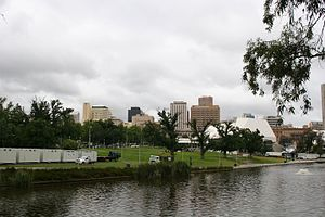 Elder Park - View of the River Torrens and Elder Park with the Adelaide city centre  skyline in the background.