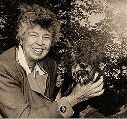 Eleanor and Fala, her and Franklin Roosevelt's dog in the White House.