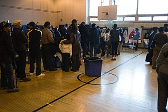 2008 United States presidential election in New York - Voting taking place in a New York City polling station