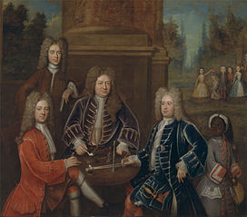 Elihu Yale; William Cavendish, the second Duke of Devonshire; Lord James Cavendish; Mr. Tunstal; and an Enslaved Servant