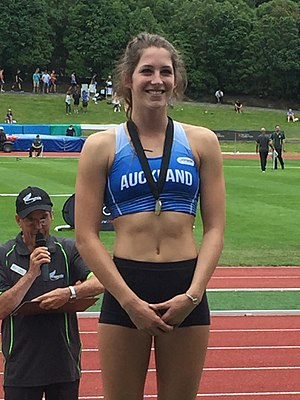 Eliza McCartney - Eliza McCartney at Caledonian Ground in Dunedin on 5 March 2016 after clearing 4.80 m