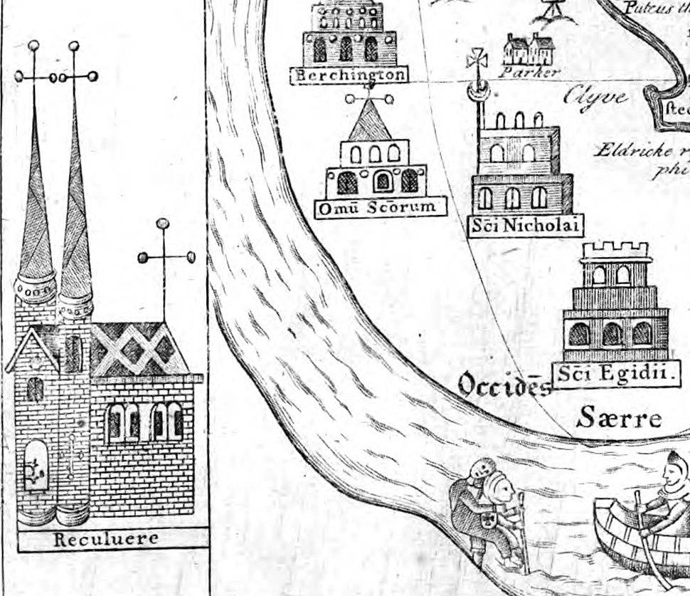 15th-century plan showing Reculver, St Nicholas-at-Wade and All Saints', Shuart