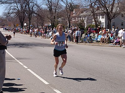 Emily Lavan, Heartbreak Hill, 2005 Boston Marathon Emily Levan Heartbreak Hill Boston Marathon 050418 dodged.jpg