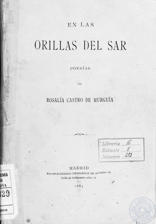 En las orillas del Sar. Imprenta de Ricardo Fe, Madrid, 1884.