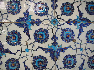 Ceramic glaze - İznik tiles in the Enderûn Library, Topkapi Palace, Istanbul