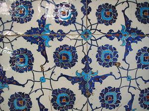 Ceramic glaze - İznik tiles in the Enderûn Library, Topkapi Palace, Istanbul