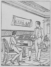 Goethes Enkel 1838 im Juno-Zimmer des Goethehauses in Weimar; Walther links am Streicher-Flügel sitzend, Wolfgang Maximilian stehend, Alma rechts im Hintergrund (Quelle: Wikimedia)