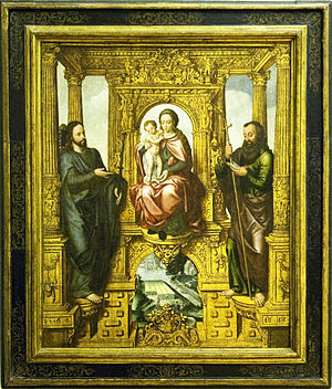 Pieter Claeissens the Elder - Enthroned Virgin and Child with SS. James the Greater and James the Lesser, 1569, now in the Bode Museum in Berlin.