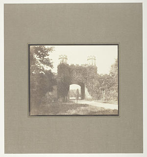 Eaton Hall, Cheshire - Entrance Lodge, Eaton Hall, Cheshire by Henry Fox Talbot, circa 1845.