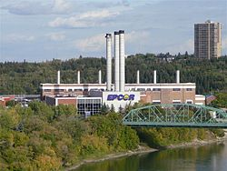 EPCOR's Rossdale Power Plant viewed from the High Level Bridge