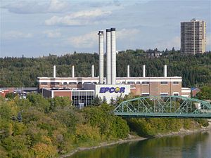 Rossdale, Edmonton - EPCOR's Rossdale Power Plant viewed from the High Level Bridge