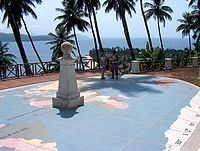 The equator marked as it crosses Ilhéu das Rolas, in São Tomé and Príncipe.