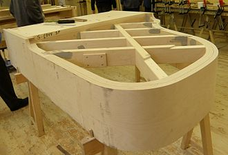 Outer rim of Estonia grand piano during the manufacturing process. The underside is facing upward, showing the thick beams that will support the rim and frame. Estonia klaver 3.jpg