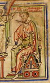 "Image of Æthelred II with an oversize sword from the illuminated manuscript ""The Chronicle of Abingdon"""