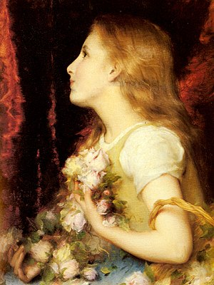 Adolphe Piot - Image: Etienne Adolphe Piot A Young Girl with a Basket of Flowers